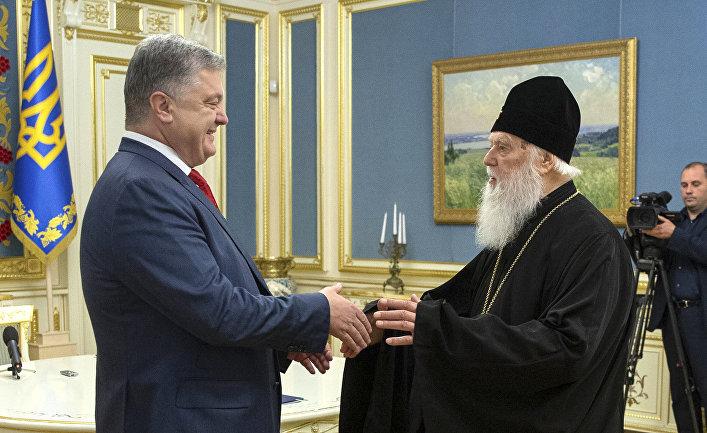 Президент Украины Петр Порошенко и патриарх Филарет во время встречи в Киеве