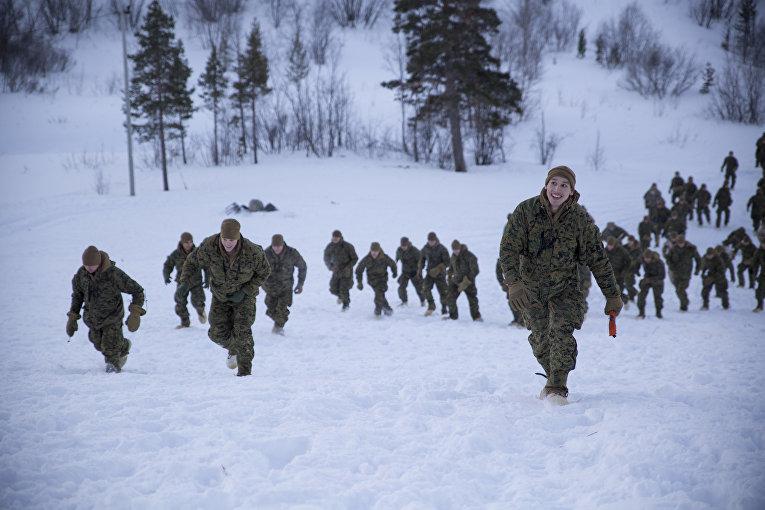 Американские морские пехотинцы во время тренировочных занятий в Норвегии