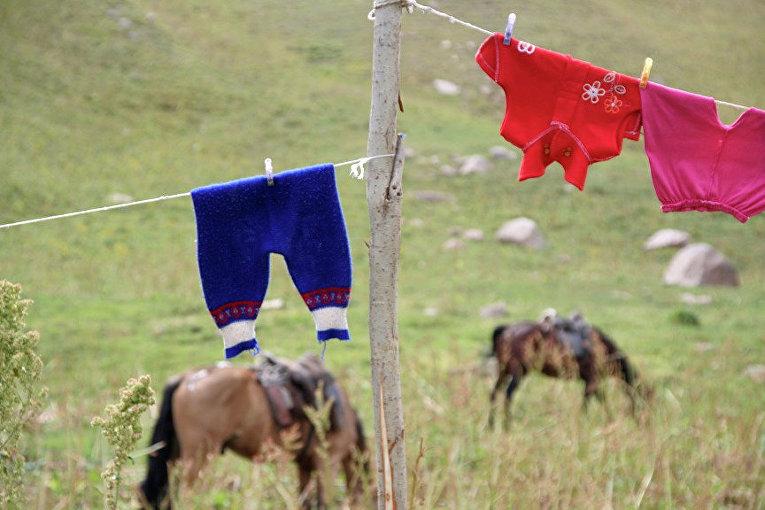 Виды Республики Тыва. Местные жители сушат белье