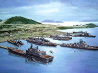 Залив Камрань с советскими военным флотом. Плакат 1985 года