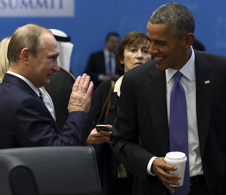 Владимир Путин и Барак Обама на саммите G20 в Анталье