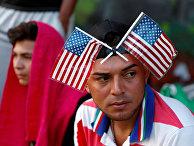 Мигранты из состава каравана, направляющегося в США в Гватемале