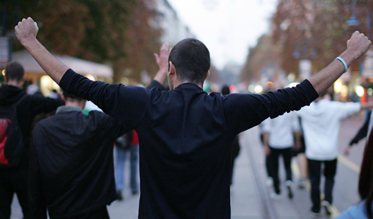 Беспорядки в Болгарии. Протестующие в Софии.