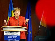 Канцлер Германии Ангела Меркель выступает на немецко-украинском бизнес-форуме в Берлине