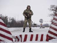Украинский пограничник в городе Милове