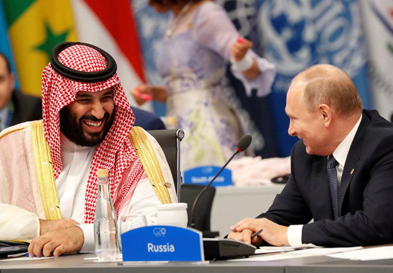 Президент России Владимир Путин и наследный принц Саудовской Аравии Мохаммед бен Сальман