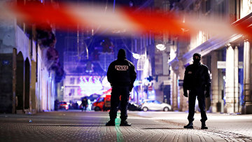 Полицейское рцепление в Страсбурге