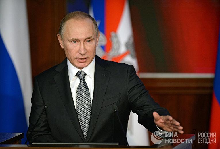 Президент РФ В.Путин принял участие в расширенном заседании коллегии Минобороны РФ