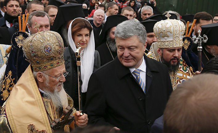 Вселенский Патриарх Варфоломей I, президент Украины Петр Порошенко и митрополит Епифаний в Стамбуле