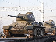 Прибытие эшелона с танками Т-34 в Читу