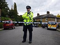 Полиция на месте убийства в Лондоне, Великобритания