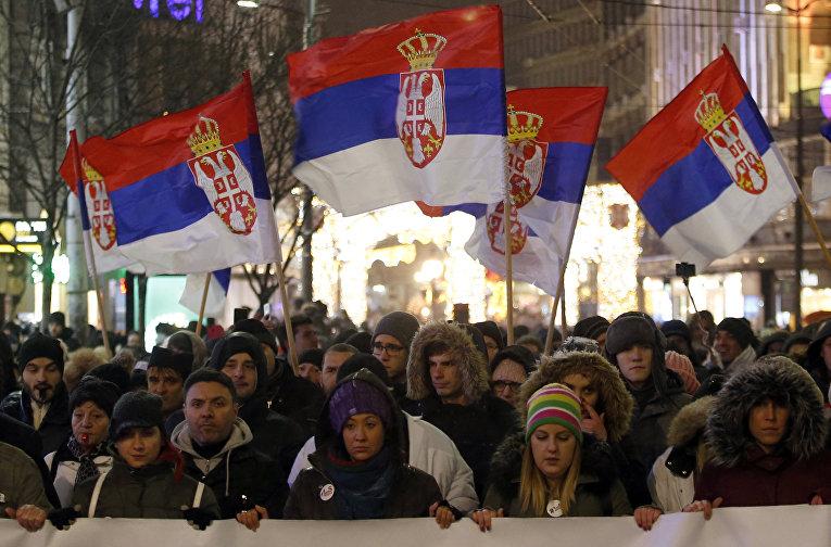 Акция протеста против президента Александра Вучича в Белграде, Сербия