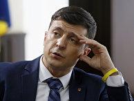 Украинский актер Владимир Зеленский на съемочной площадке фильма в Киеве