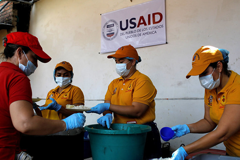 Благотворительная продукция агентства США по международному развитию USAID в Кукуте, Колумбия