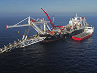 Судно в Балтийском море на прокладке газопровода «Северный поток-2»