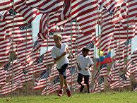Дети среди флагов в университете Пеппердина