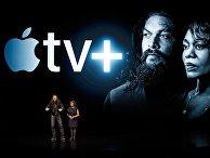 Актеры Джейсон Момоа и Альфре Вудард во время специального мероприятия Apple