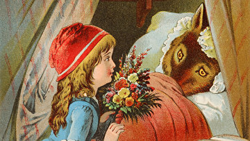 Иллюстрация к немецкому варианту сказки Красная шапочка