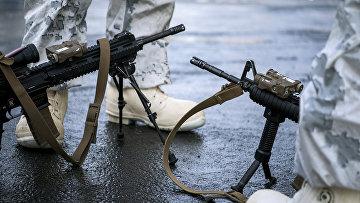 Морские пехотинцы США во время военных учений Trident Juncture 2018 в Норвегии