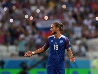 Рюрик Гисласон (Исландия) в матче группового этапа чемпионата мира по футболу между сборными Нигерии и Исландии