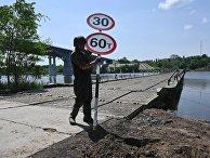 Возведение понтонной переправы через реку Северский Донец