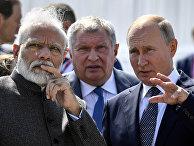 Президент РФ Владимир Путин и премьер-министр Индии Нарендра Моди