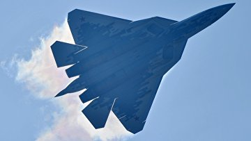 Истребитель Су-57 на МАКС-2019