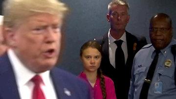 Шведская экологическая активистка Грета Тунберг и президент США Дональд Трамп на Генассамблее ООН