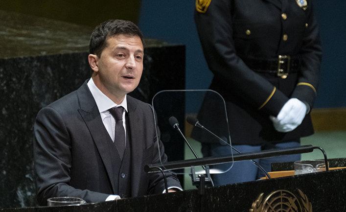 Президент Украины Владимир Зеленский выступает на 74-й сессии Генеральной Ассамблеи ООН
