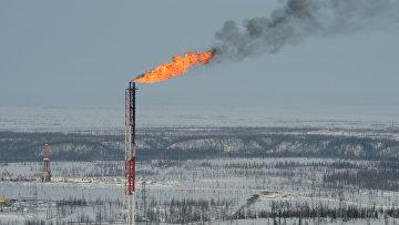 Вид Ванкорского нефтегазового месторождения в Красноярском крае с борта вертолета