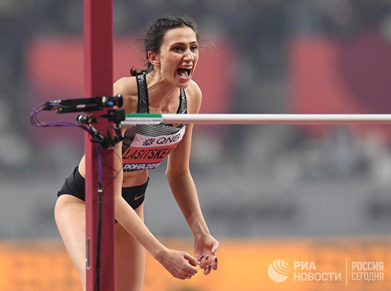 Российская спортсменка Мария Ласицкене в финальных соревнованиях по прыжкам в высоту на чемпионате мира по легкой атлетике 2019