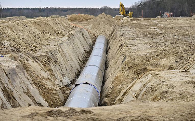 Строительство нового европейского газопровода в районе Любмина, Германия