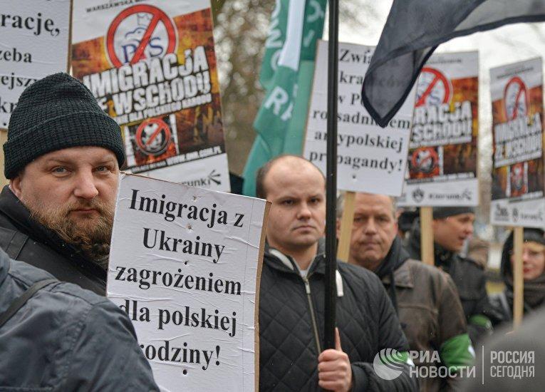 Митинг в Варшаве против возросшего числа украинских мигрантов