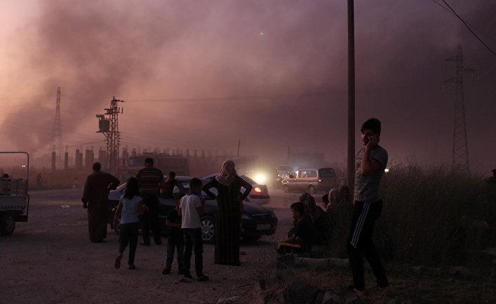 Сирийские беженцы в городе Рас-Аль-Айн