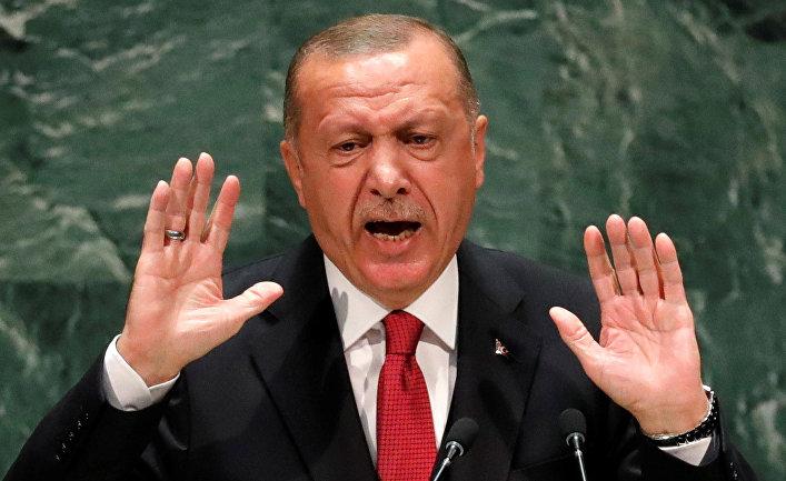 Президент Турции Реджеп Тайип Эрдоган выступает в штаб-квартире ООН в Нью-Йорке