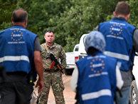 Члены мониторинговой миссии Европейского Союза ну границе Грузии и Южной Осетии