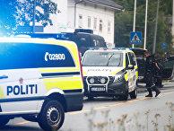 Полицейские автомобили на месте происшествия в Осло, Норвегия