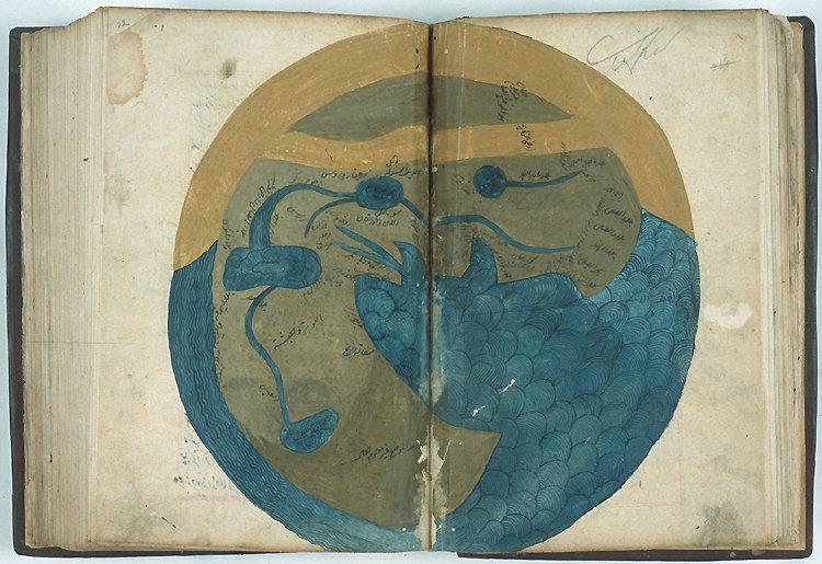 Карта обитаемого мира из «Космографии», рукопись XVI века