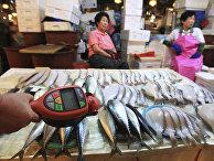 Проверка радиактивного загрязнения с помощью счетчика Гейгера на рыбном рынке в Сеуле, Южная Корея