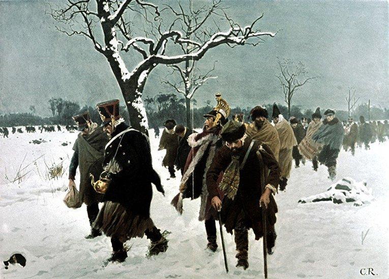 Картина Карла Рехлинга «Ноябрь 1812 г. Отступление Великой армии Наполеона из России», 1901 г.