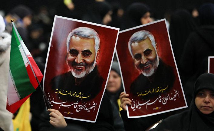 Сторонники убитого иранского генерал-майора Касема Сулеймани в Бейруте
