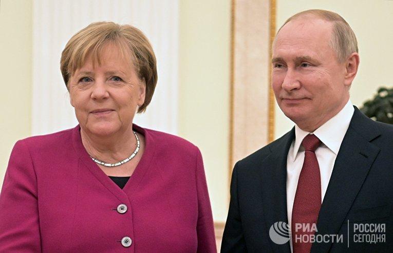 Встреча президента РФ В. Путина с канцлером Германии А. Меркель