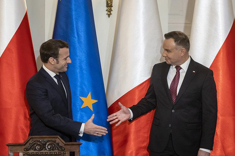 Президент Франции Эммануэль Макрон и президент Польши Анджей Дуда