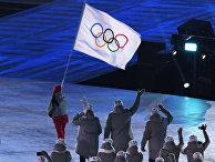 Олимпийские атлеты из России на церемонии открытия XXIII зимних Олимпийских игр в Пхенчхане.