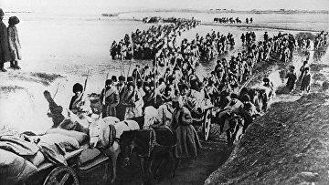Русско-японская война 1904-1905 гг. за контроль над Маньчжурией и Кореей. Переправа русской армии через реку Хуанхе в Китае.