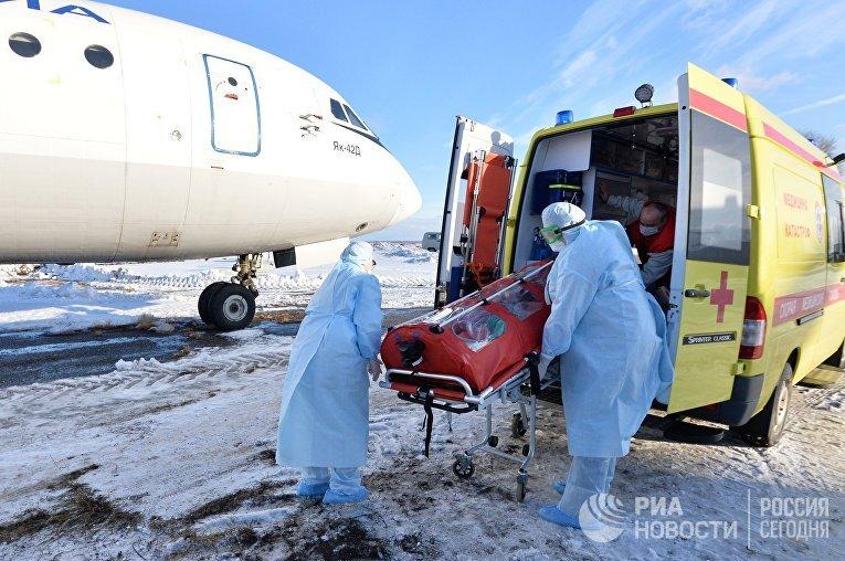 Учения по проведению медицинской эвакуации пациентов с симптомами коронавируса