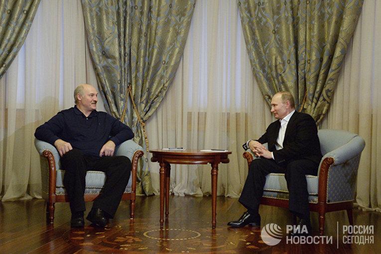 Неформальная встреча президента РФ В. Путина с президентом Белоруссии А. Лукашенко