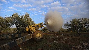 Поддерживаемые Турцией сирийские боевики ведут бои вблизи деревни Нейраб