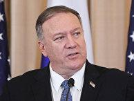 Госсекретарь США Майк Помпео на пресс-конференции по итогам встречи в Вашингтоне с министром иностранных дел РФ Сергеем Лавровым.