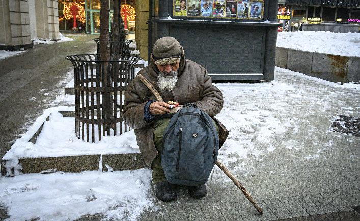 Попрошайка на улице в Москве